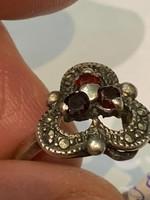 Antik színesköves ezüstgyűrű