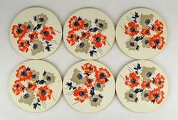 1A129 Virágdíszes parafa poháralátét készlet 6 db