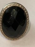 Nagy fekete ónix köves ezüstgyűrű