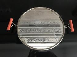 Art deco tükrös tálca bakelit fogantyúval, 28 cm átmérő, 36 cm fogantyúval