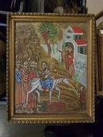 Pravoszláv témájú (?) festmény, faroston, méret jelezve, szép keret!