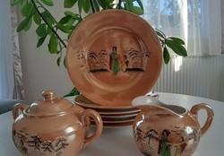 Porcelán süteményes tányérok_cukortartó_tejszínes kancsó_1970-es évek_retro_japán mintás