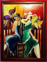 Czinóber - Barátnők ( 30 x 40, olaj, gyönyörű keretben )