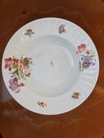 Hüttl Tivadar magyar királyi udvari szállító Epiag antik virágos porcelán leveses mélytányér