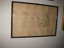 BORSOS MIKLÓS   ,  Akt   1969  ,  rézkarc  37 x 57cm  / 60 x 40 cm  kerettel