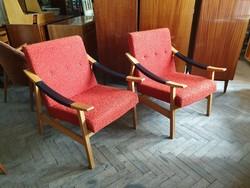 Mid century régi retro fotel íves fakarfás