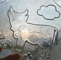 Vidám tehénkés  üvegtányér, kínáló