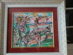 Józsa János Csodaszarvas akvarell