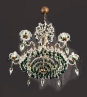 Különleges Baccarra csillár zöld üveg díszekkel