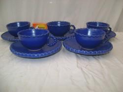 Kék színű kerámia kávéskészlet - öt személyes