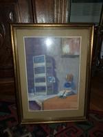Kutassy Imre Ferenc enteriőr, akvarell, szép keretben, falról