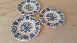 Kék díszírésű szép angol porcelán kis tányér 3 db eladó!