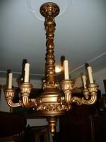 Álomszép nagy méretű minden porcikájában kézzel faragott 8 ágú antik fa csillár