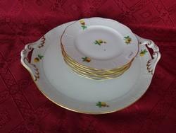Herendi porcelán süteményes készlet 7 db-os eper mintával vitrinben tárolt tál átm 31.5 x 28 x  3 cm