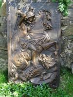 Szent György és a sárkány bronz dombormű antik római faragvány másolata