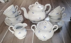 6 személyes Zsolnay Barokk  Teáskészlet készlet, kanna, cukortartó, tejszínes, csésze porcelán