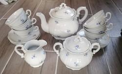 6 személyes Zsolnay Teáskészlet, készlet, kanna, cukortartó, tejszínes, csésze, porcelán, nosztalgia