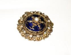 Csodás,antik,aranyozott ezüst bross/medál,zománc és gyöngy díszítéssel!
