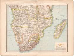 Közép- és Dél - Afrika, Fokföld, Kelet - Afrika térkép 1887, német atlasz, eredeti, régi, Andrees
