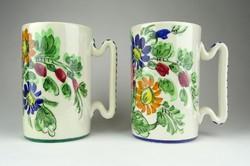 1A152 Olasz kézzel festett virágmintás majolika korsó pár Coop Imola