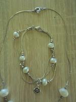 Izraeli 925-ös ezüst ékszer szett ( nyaklánc+karlánc)