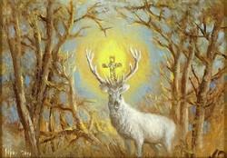 """1A269 Ismeretlen festő : """"A fehér szarvas"""" Hubertusz kereszt"""