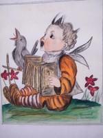 Korabeli festett akvarell Hummel kép másolata