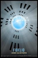 Beethoven: Fidelio opera plakát, börtön falak, ablakok, kék ég, fehér galamb
