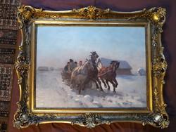 Viski János: Nívósan restaurált, olaj, vászon 60x80cm festmény Hármasfogat téli tájkép. Ló. Blondel