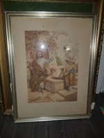 Akvarell festmény, Jézus, és a szamaritánus asszony, szép állapotban