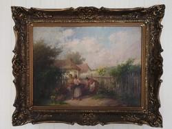 Ács Ágoston beszélgető asszonyok falusi életkép blondel keretes festmény