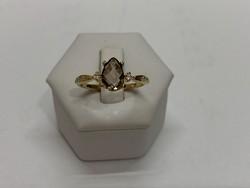 Füstkvarc gyűrű (V10665)
