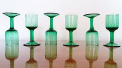 Retro zöld röviditalos üveg pohár likőrös talpaspohár 6 db