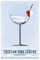 Wagner: Trisztán és Izolda minimalista opera plakát, szerelmi bájital szív kard koktél tenger kotta
