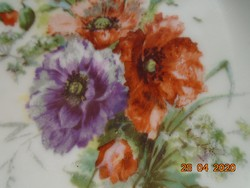 Antik kézzel festett pipacs mintás,áttört csipkézett cakkos peremmel tányér