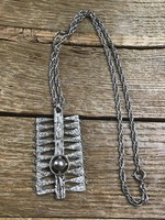 Régi modernista ródiumozott réz nyaklánc