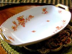 Ritka! Bavaria Thomas régi porcelán kínálótál, különleges, vörös virágos motívummal