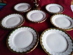 Süt4  6 db  Csodás Eschenbach Bavaria süteményes desszertes tányér hibátlan aranyozással 19 cm