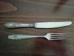 Régi ezüstözött kés, villa