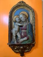 Szenteket ábrázoló gipsz falidísz, 28x12, hibás
