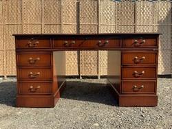 Angol szekrényes  bőrlapos íróasztal