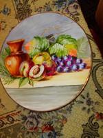 Nagyméretű kézzel festett falitál-látványos szép darab 30 cm