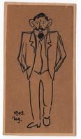 Nikelszky Géza (1877-1966) : Önarckép (karikatúra)