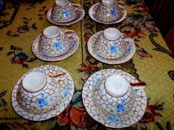 6 db antik cseh porcelán  csésze és alj