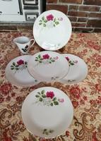 Seltmann Gyönyörű rózsás 5 db sütis, süteményes tányér, + 1 db tejszínes, Tejszínkiöntő