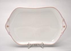 Hüttl Tivadar nagyméretű rózsaszinű szecessziós süteményes tál. 40x25 cm.