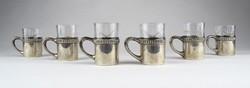 0Z108 Antik stampedlis üvegbetétes ezüst pohártartó készlet