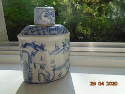 Kangxi máz alatt kézzel festett porcelán fedeles tea tároló magas hegyi tájképekkel