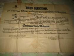 Diploma   NOS RECTOR  ....... A szegedi Ferenc József tudomány egyetemről  1922