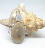 Indiai kézműves dendrit opál ezüst medál